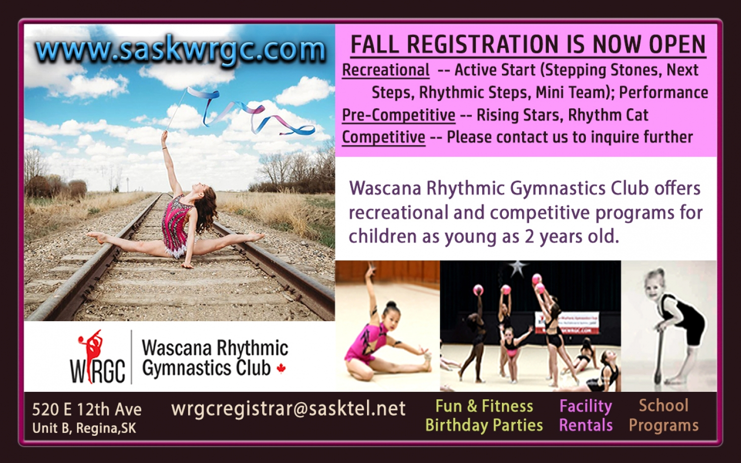 Look for our ad in the Leader Post's Fall Activity Guide