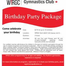 Book Your Birthday Party at WRGC!